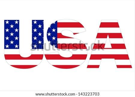 USA text written with USA flag - stock photo