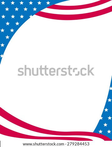 USA 4th of july stars and stripes frame design with empty white space on middle - stock photo