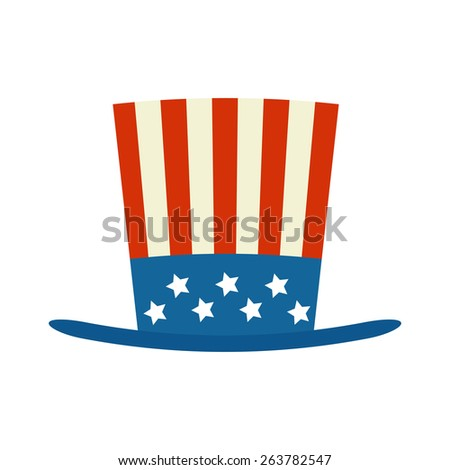 usa top hat for independence day  illustration isolated on white background - stock photo