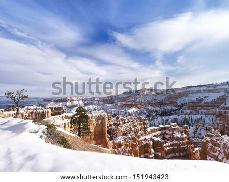 USA, Utah,  Bryce Canyon National Park, Winter, 2012 - stock photo