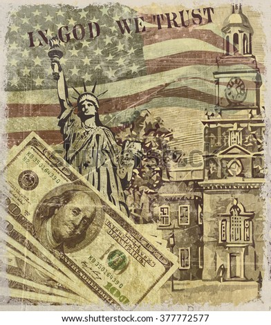 USA vintage poster with landmark and symbol of Freedom and Democracy, - stock photo