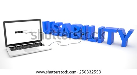 Usability - laptop computer connected to a word on white background. 3d render illustration. - stock photo