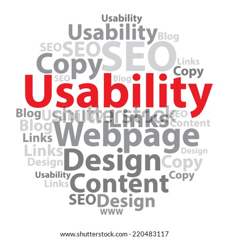 Usability. Text cloud. Seo wordcloud. Typography concept. Illustration. - stock photo