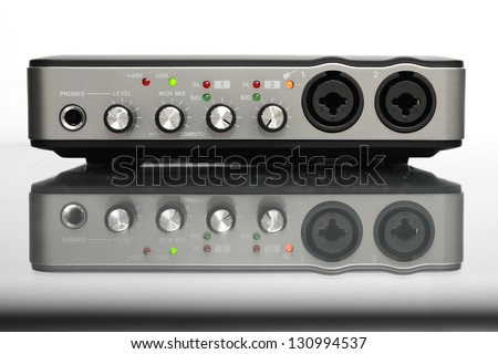 USB Audio interface for Home recording or Mixing - stock photo
