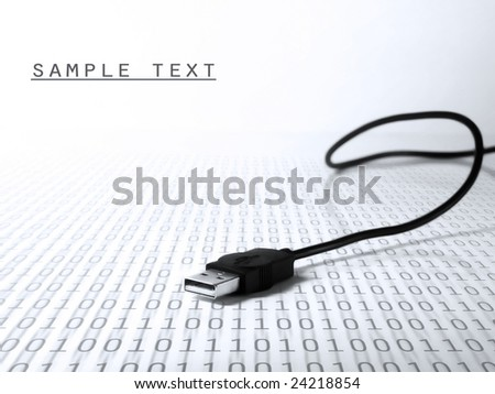 USB cable connection, binary code - stock photo