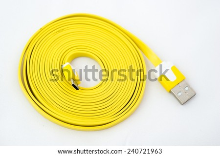USB Cable Plug isolated on White Yellow - stock photo