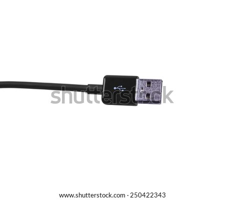 USB connector cable isolated on white background. - stock photo