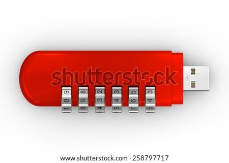 USB encode red - stock photo