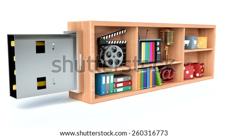 usb flash drive and media content - stock photo