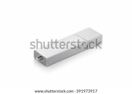 USB Flash Drive closeup on white background - stock photo