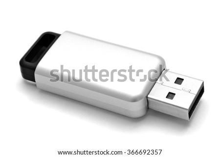USB Flash Drive closuep on white background - stock photo