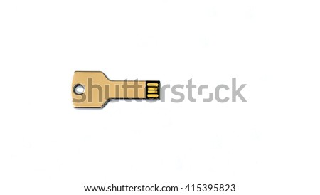 USB flash drive in key shape on white background - stock photo