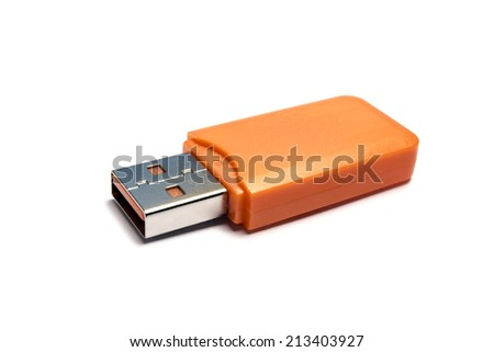 USB Flash Drive on white background  - stock photo