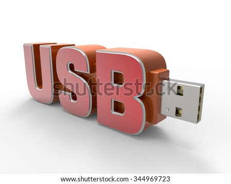 USB Flash Drive Text - stock photo