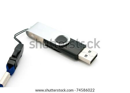 USB Flash isolated on white - stock photo