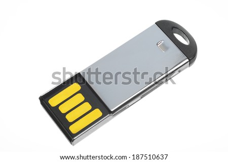 USB flash memory isolated on a white background - stock photo