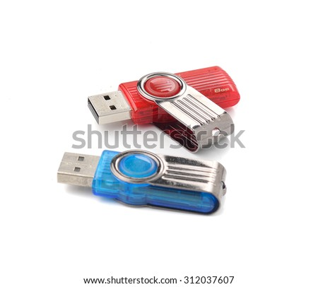 Usb flash memory isolated on the white background - Handy drive - Thumb drive - Portable flash usb drive - usb stick - stock photo