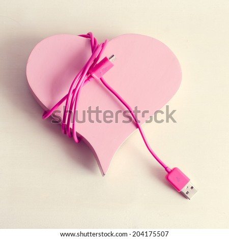 USB love , USB Pink , USB cable pink , USB cable Abstract love - stock photo