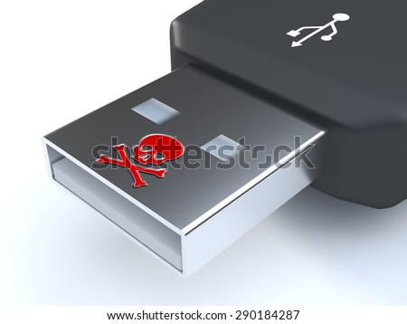 USB malware - An USB-stick infected with malware. The stick contains a skull. - stock photo