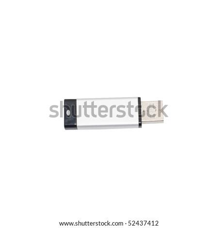 USB memory stick isolated on white background - stock photo