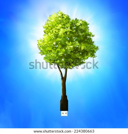 Usb stick or cable as tree. Go green and eco concept. - stock photo