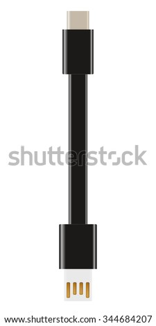 USB type-C cable connector - stock photo