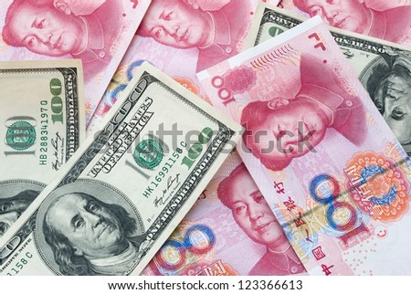 USD and RMB, financial concept - stock photo