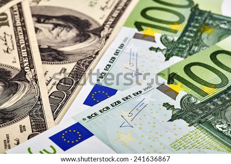 USD EUR banknotes - stock photo