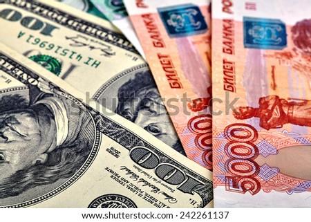 USD RUB banknotes. Selective focus - stock photo