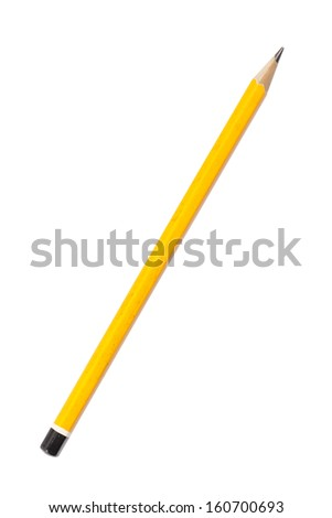 use old yellow pencil, isolated on white. - stock photo