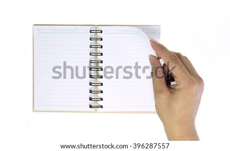 Use open diary top view isolated on white background. - stock photo