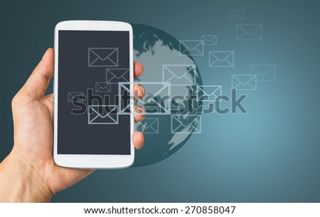 Use smart phone for send E mail information something. - stock photo