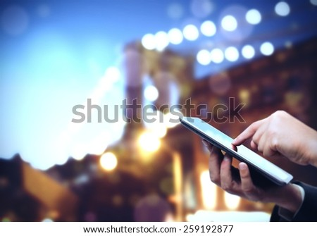 Use tablet anywhere and communicate with anyone - stock photo