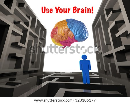 use your brain concept with labyrinth and colourful brain illustration - stock photo