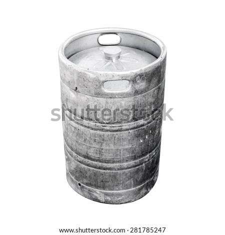 Used aluminum keg, a small barrel commonly used to store, transport, and serve beer. Closeup photo isolated on white - stock photo