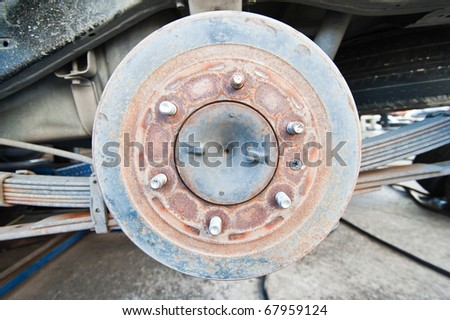 Used Car Break detail with tire removed - stock photo
