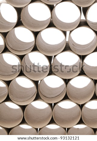 Used cardboard toilet paper rolls. - stock photo