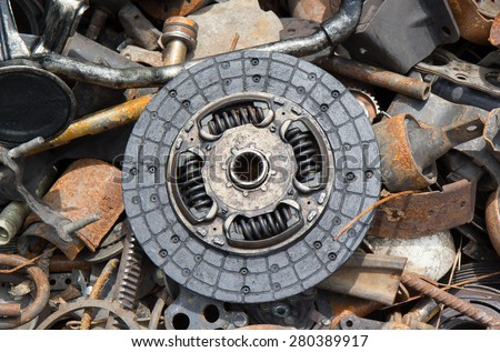 used clutch and waste automotive parts - stock photo