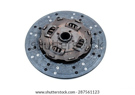 Used Clutch Disc on white background.Dirty or demoded - stock photo