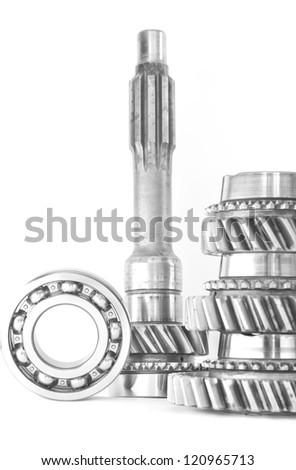 used cogwheel isolated on white background - stock photo