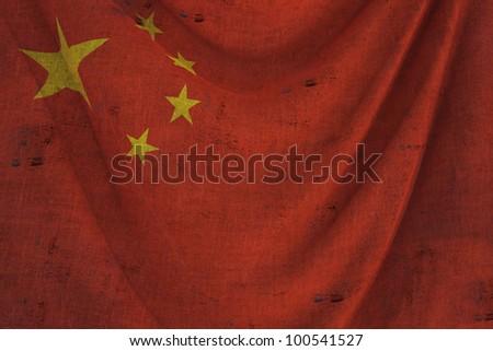 used fabric CHINA flag - close up - stock photo