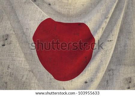 used fabric japan flag - close up - stock photo