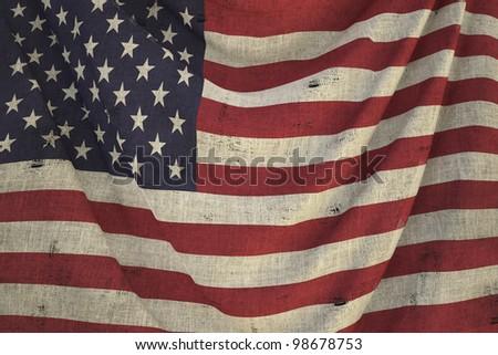 used fabric US flag - close up - stock photo