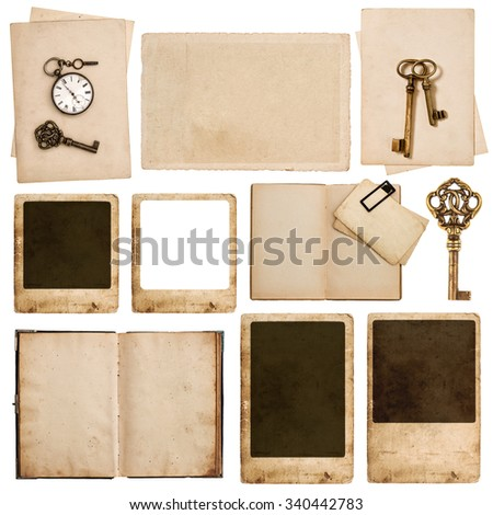 Used grungy paper sheets, photo frames, vintage pocket watch and key isolated on white background - stock photo
