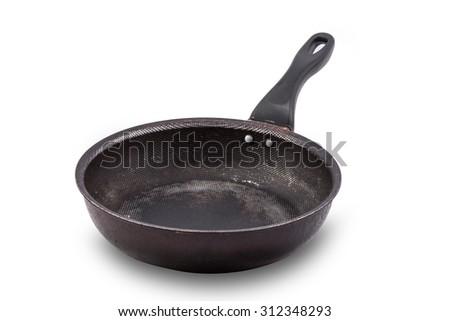 used Non stick frying pan isolated on white - stock photo