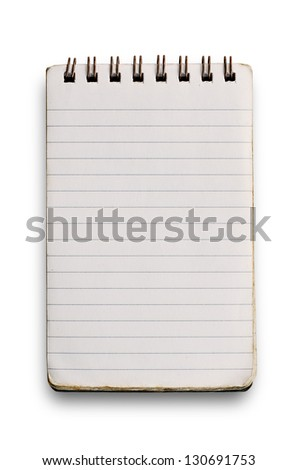 Used notebook isolated on white. - stock photo
