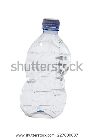 used, old plastic bottle isolated on white  - stock photo