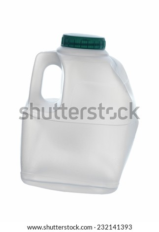 used, old plastic bottle on white - stock photo