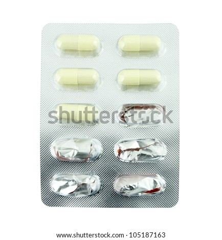 Used one packs of pills on white - stock photo