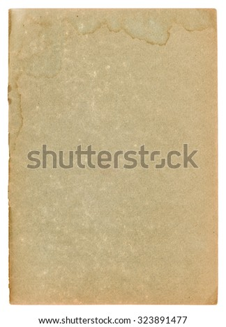 Used paper page texture with stains and worn edges. Vintage cardboard background - stock photo